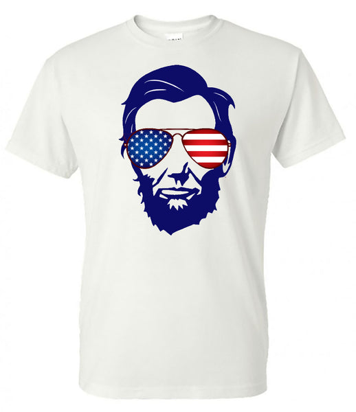 abraham lincoln american flag sunglasses fourth of july memorial day labor day patriotic shirt