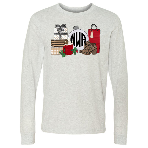 All Things Christmas Monogram - Ash Long Sleeve Tee