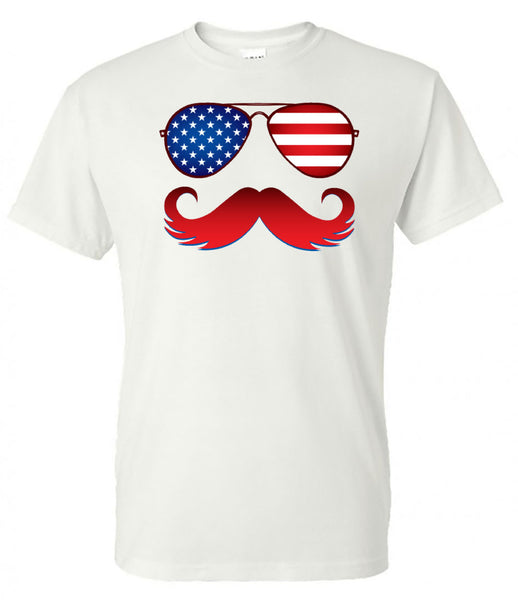American Flag Glasses and Mustache - White Short Sleeve Tee