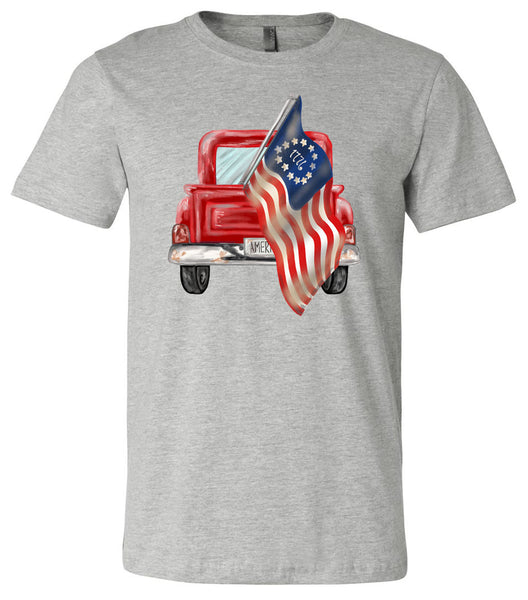 America Truck - Athletic Heather Short/Long Sleeve Tee