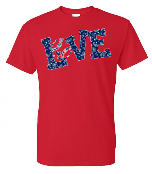 Baseball Love Bandana Print Tee - Red Short Sleeve Tee - Southern Grace Creations