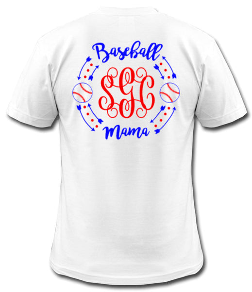 Baseball Mama Monogram Tee - Southern Grace Creations
