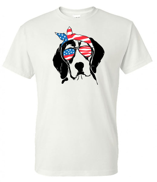 beagle with American Flag Bandana & Glasses Tee fourth of july memorial day labor day