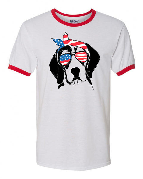 Beagle with Flag Bandana & Glasses Tee