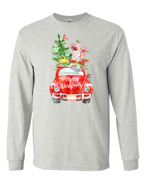 Beetle Christmas - Ash Grey Long Sleeves Tee  Christmas  Southern Grace Creations