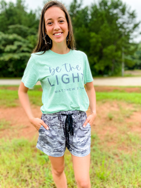 Be The Light Tee - Heather Prism Mint