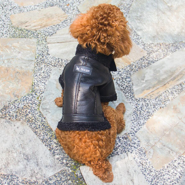 Leather Dog Coat - Black