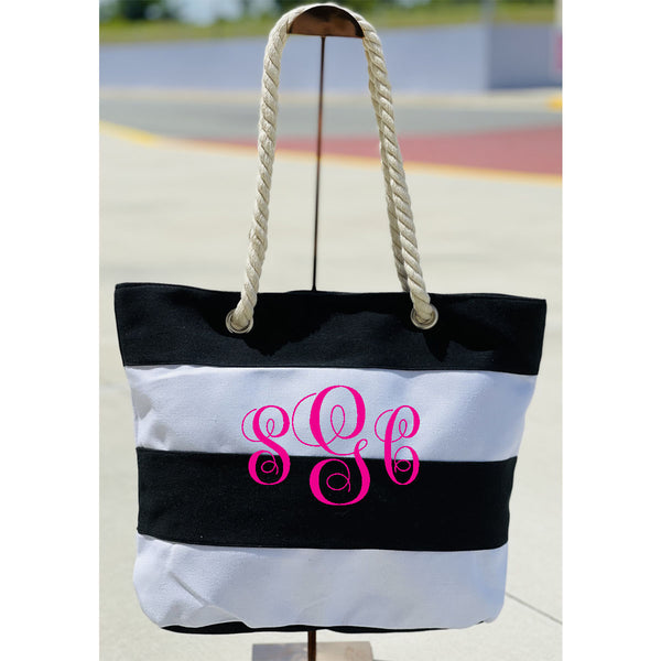 Stripe Beach Tote - Black/White