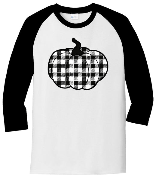 Black/White Plaid Pumpkin - White/Black Raglan