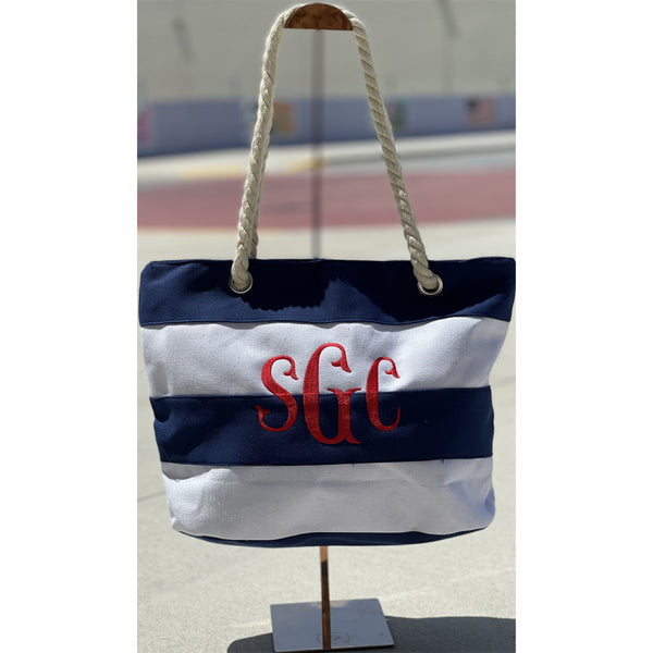 Stripe Beach Tote & Towel Set - Navy/White