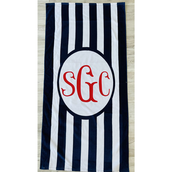 Monogrammed Stripe Beach Towel - Navy/White