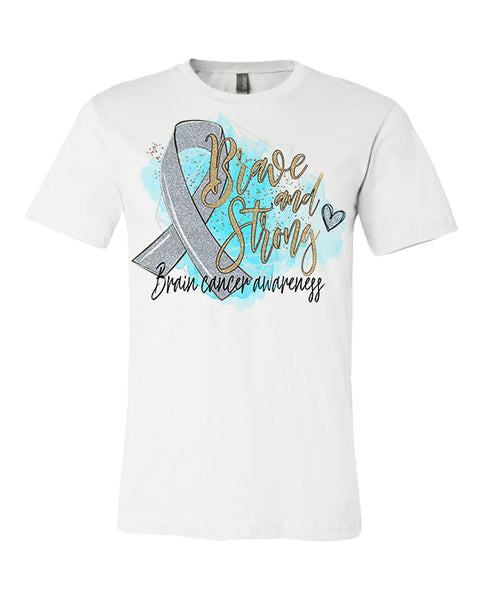 Brave and Strong Brain Cancer Awareness - White Tee
