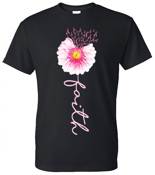 Breast Cancer Daisy Faith - Black Short Sleeve Tee