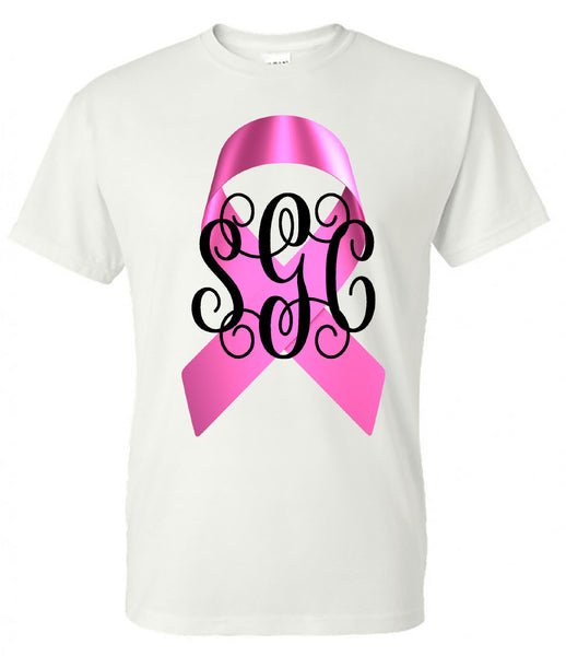 BREAST CANCER RIBBON MONOGRAM TEE - White Short Sleeves - Southern Grace Creations