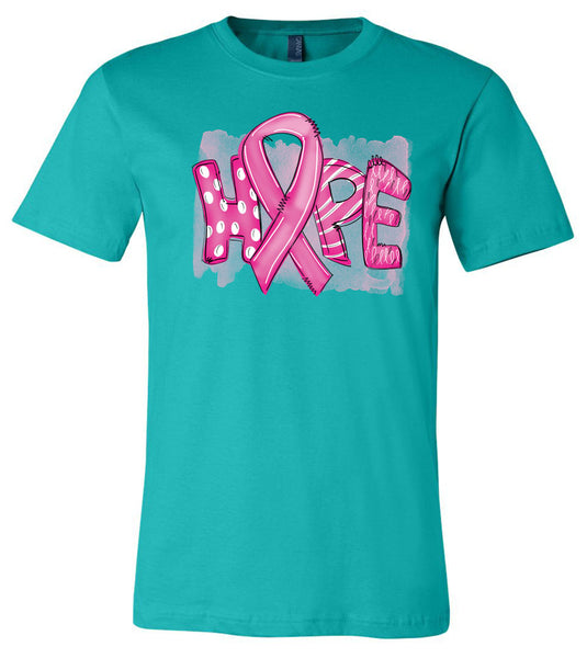 Breast Cancer - Hope - Teal Short Sleeve Tee