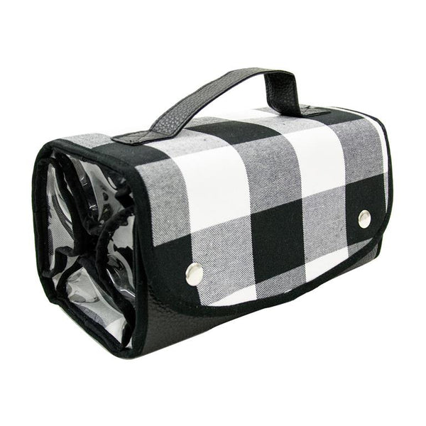 Buffalo Check Roll-Up Cosmetic Bag