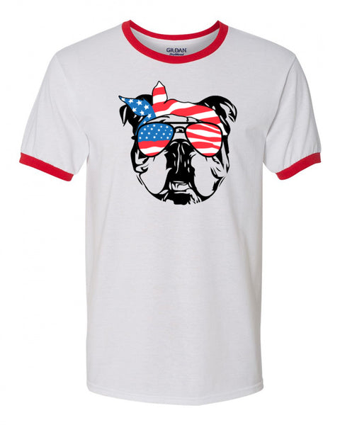bulldog with American Flag Bandana & Glasses Tee fourth of july memorial day labor day
