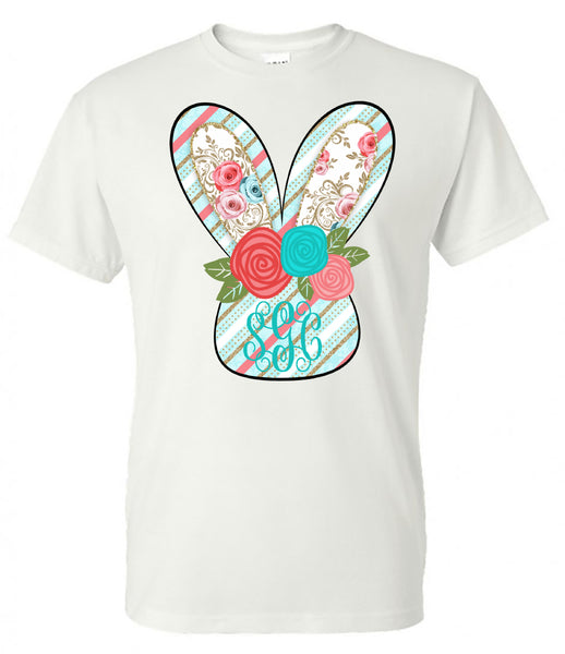 Bunny Stripe Head Monogram - White Short Sleeve Tee - Southern Grace Creations