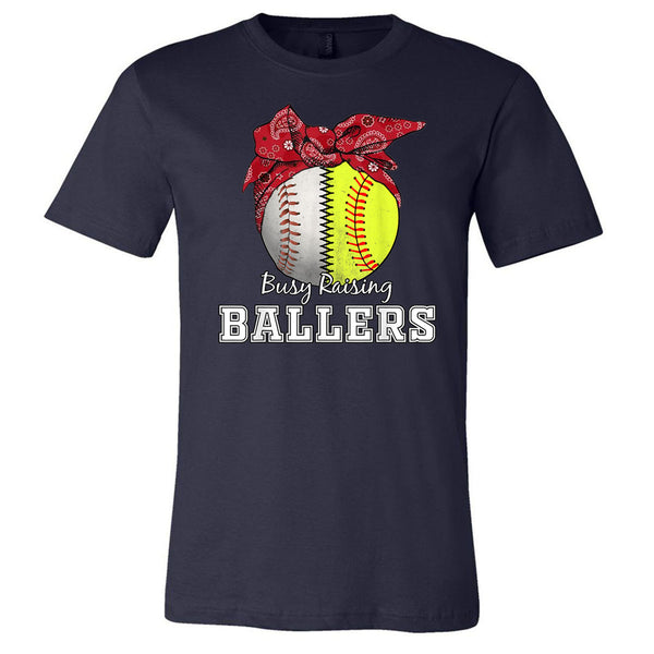 Busy Raising Ballers Baseball Softball Red Bandana - Navy Short Sleeve Tee