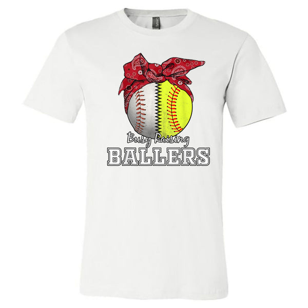 Busy Raising Ballers Baseball Softball Red Bandana - White Short Sleeve Tee