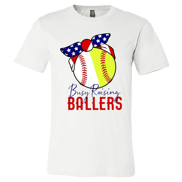 Busy Raising Ballers with American Flag Bandana - White Short Sleeve Tee