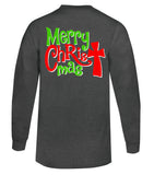 Merry CHRISTmas Tee - Long Sleeve Charcoal - Southern Grace Creations
