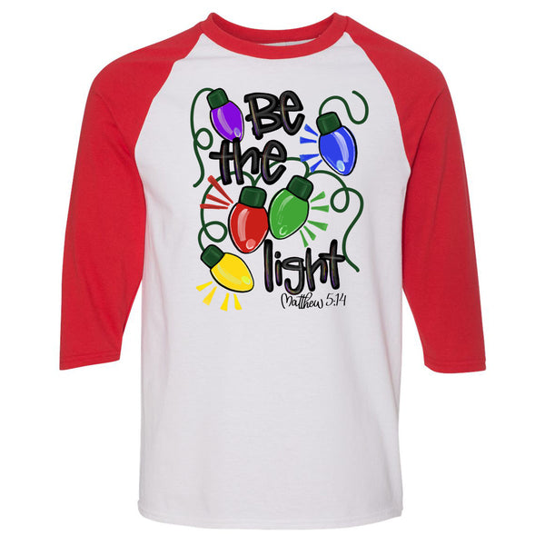 Christmas - Be The Light - White/Red Raglan
