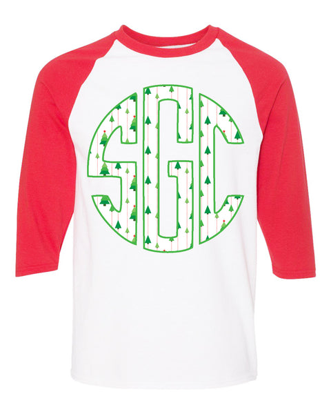 Christmas Tree Print Monogram White/Red Raglan - Southern Grace Creations