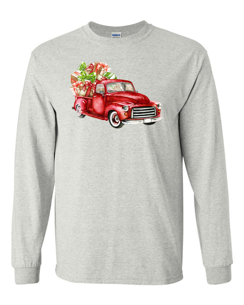 Christmas Truck - Ash Grey Long Sleeves Tee - Southern Grace Creations
