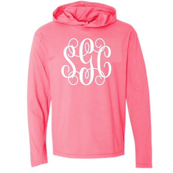 Comfort Color Tee with Hoodie Tee with Big Monogram southern grace creations