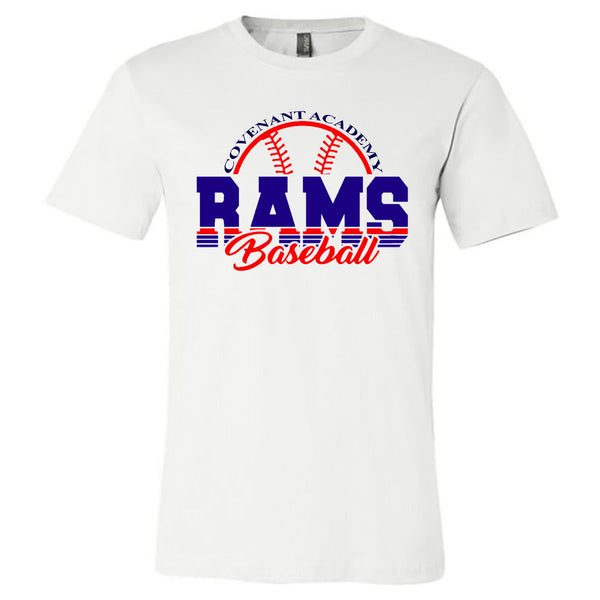 Covenant - Covenant Academy Rams Baseball Stripes - White Tee