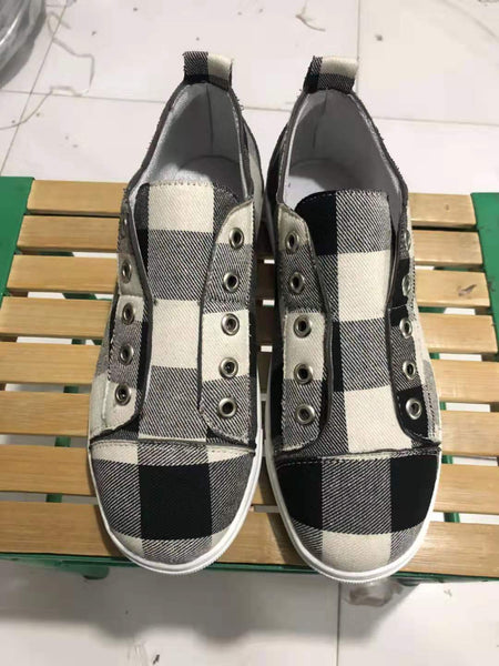 Black Plaid Canvas Shoes