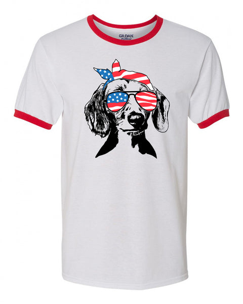 Dachshund with Flag Bandana & Glasses Tee