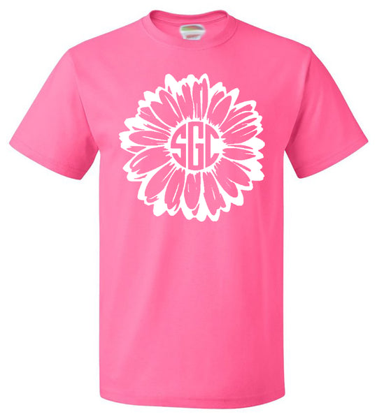 Daisy Monogram Tee - Southern Grace Creations
