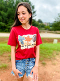Faith Fall Football Tee - Cardinal  Southern Grace Creations