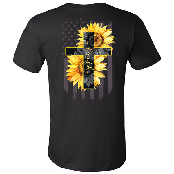 Faith Sunflowers Cross Flag - Black Short Sleeve Tee