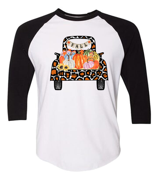 Fall Truck Tee - Black/White Raglan