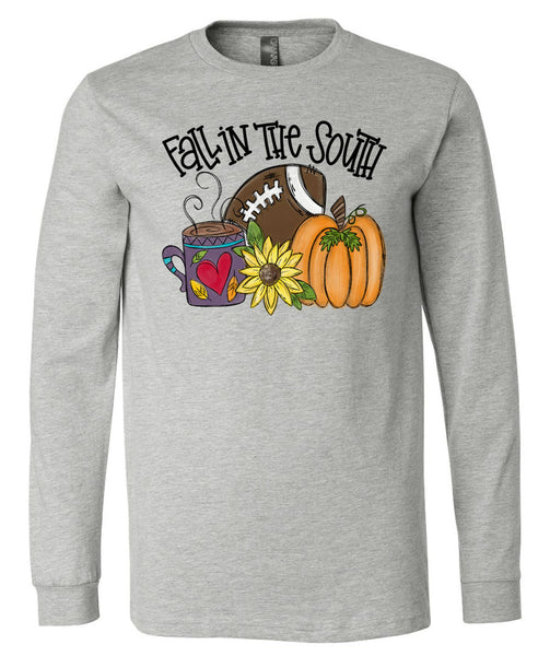 Fall in the South - Athletic Heather Short/Long Sleeve Tee