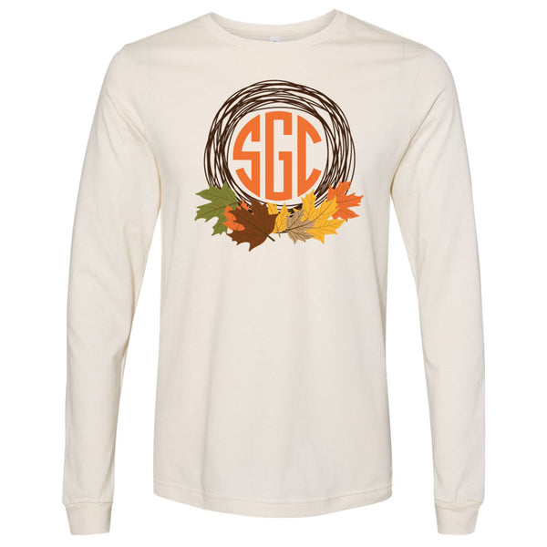 Fall Leaves Monogram Frame - Natural Tee