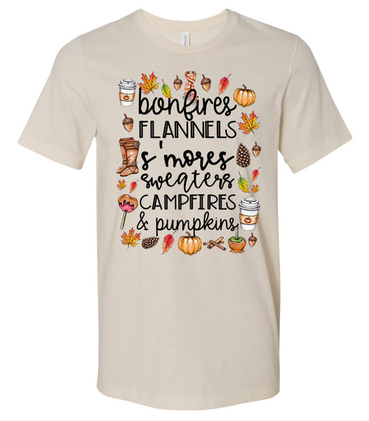 Fall Words - Soft Cream Short/Long Sleeve Tee