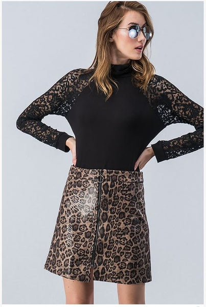 Brown Leopard Zip Up Skirt - Southern Grace Creations