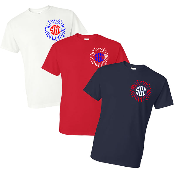 FIREWORKS MONOGRAM T-SHIRT (LEFT CHEST) - Southern Grace Creations