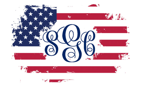 Distressed Flag Monogram