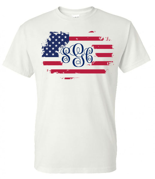 Distressed Flag Monogram - White Short Sleeve Tee