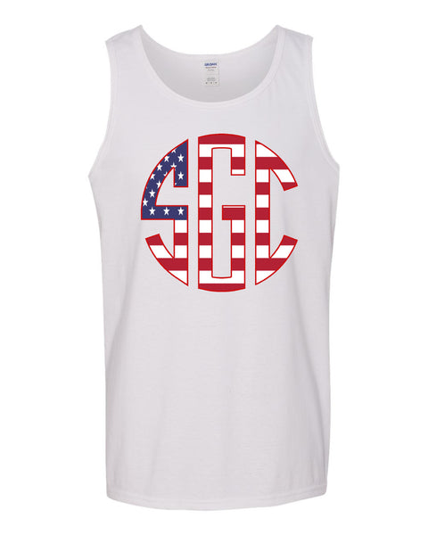American Flag Monogram Print Shirt - Southern Grace Creations