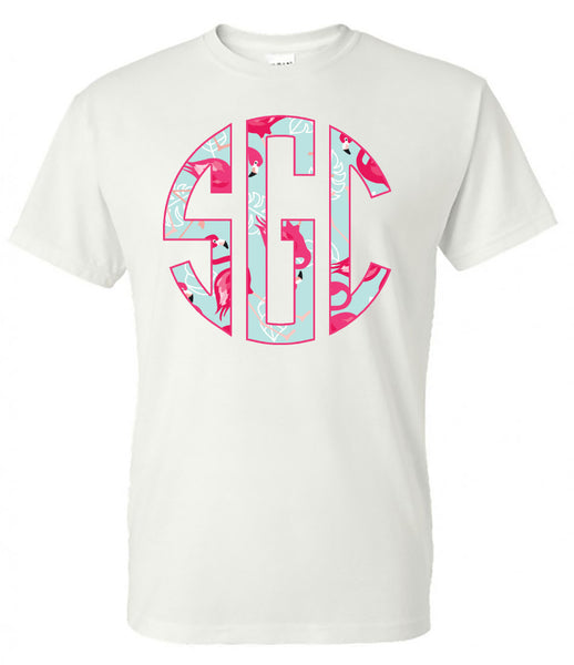Flamingo Flock Circle Monogram Printed Shirt - Southern Grace Creations