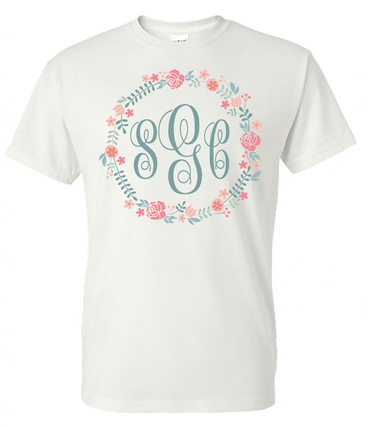 Flower Circle Frame Monogram - White Short Sleeve Tee - Southern Grace Creations