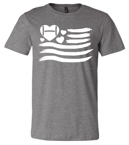 Football Heart Flag - Deep Heather Grey Short-Sleeve Tee
