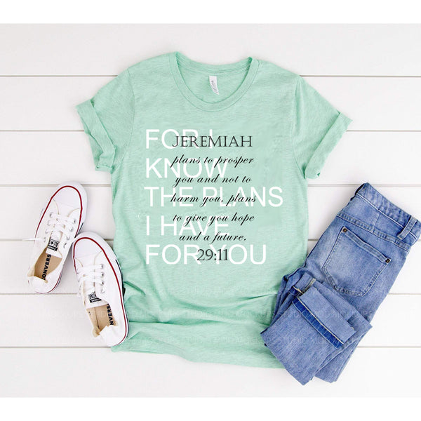 For I Know The Plans I Have For You - Mint Short Sleeve Tee