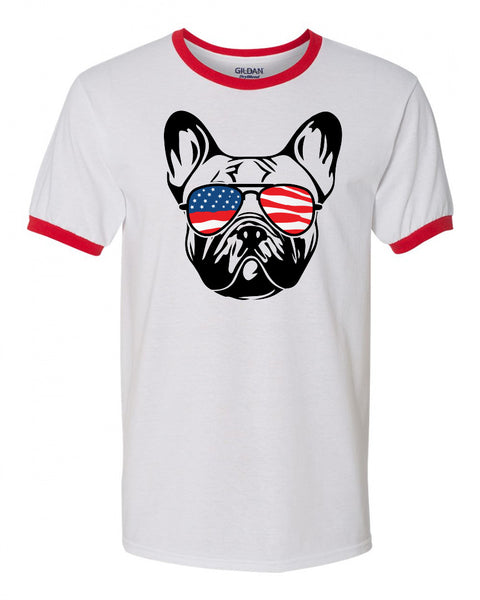 French Bulldog with Flag Bandana & Glasses Tee